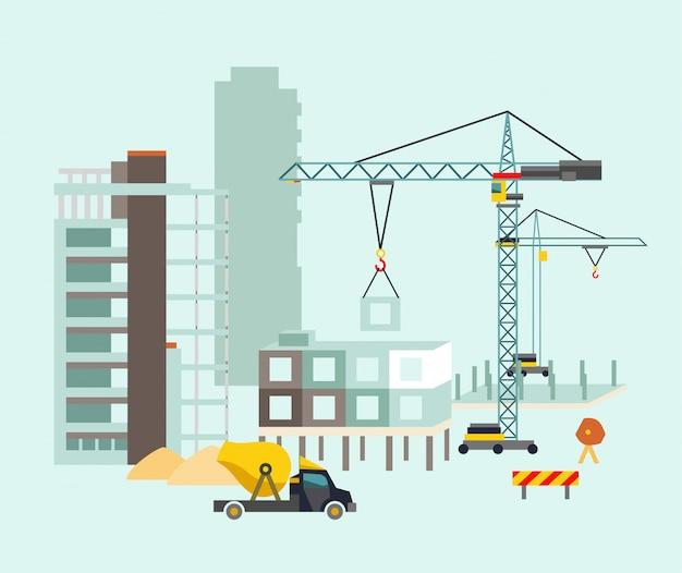 Processo di costruzione di edifici con case e macchine da costruzione.