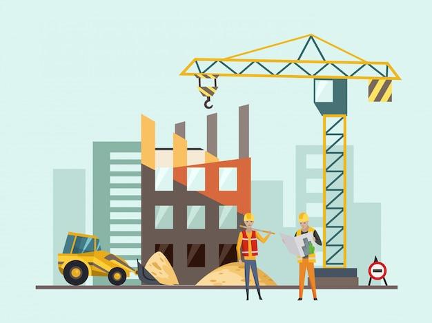 Processo di costruzione di edifici con case e macchine da costruzione