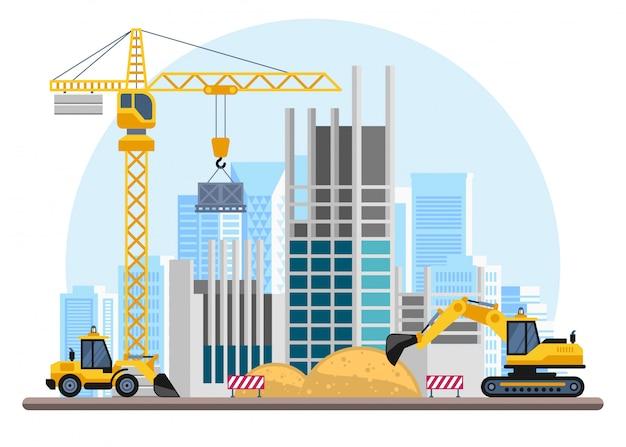 Processo di costruzione di edifici con case e macchine edili.