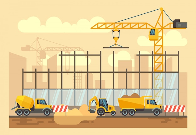 Processo di costruzione di edifici, strumenti di ingegneria, materiali e attrezzature