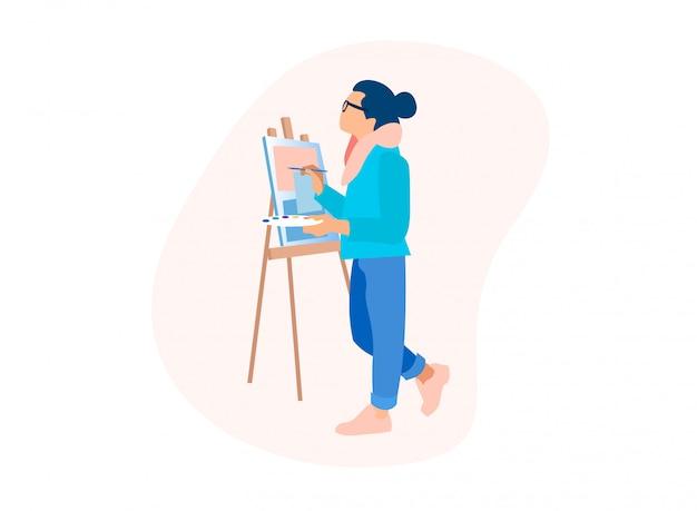 Processo di disegno uomo artista lavoro con colori ad olio