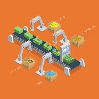 Processo di fabbricazione dei soldi isometrico