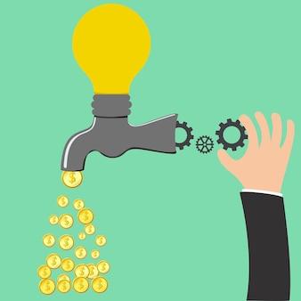 Processo di idea di rubinetto per essere soldi