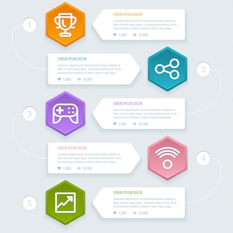 Processo di infografica 5 passaggi con icone