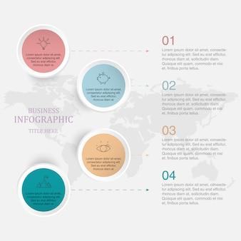 Processo di infografica a 4 piatto.