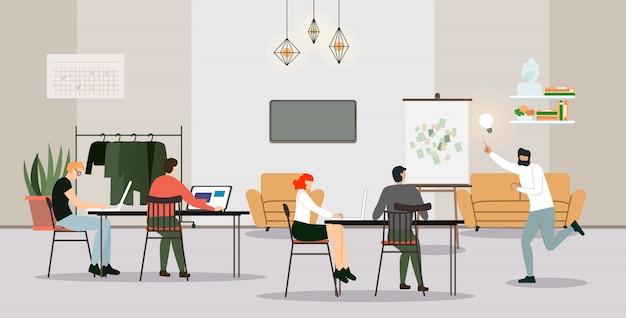 Processo di lavoro degli impiegati delle persone di affari in ufficio