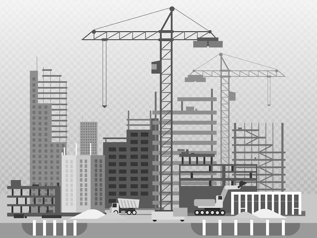 Processo di lavoro di costruzione di edifici e macchinari isolati su trasparente