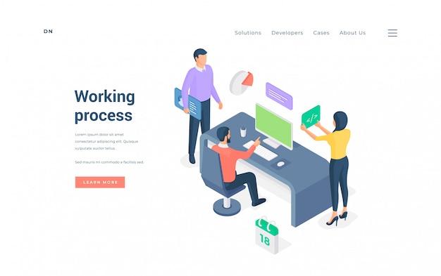 Processo di lavoro in ufficio moderno. illustrazione isometrica