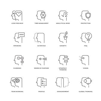 Processo di mente umana, set di icone di linea di caratteristiche del cervello