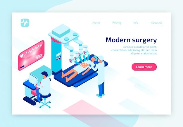 Processo di operazione paziente con robot medico.