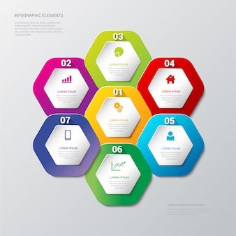 Processo di passaggi multicolore sul modello di infografica etichette esagonali a nido d'ape
