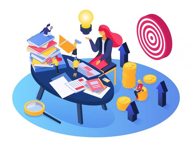 Processo di pianificazione aziendale, persone minuscole del fumetto che lavorano, brainstorming insieme, idea imprenditoriale su bianco