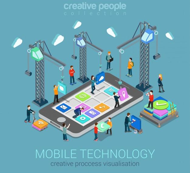 Processo di visualizzazione della tecnologia mobile che crea concetto isometrico del sistema operativo, posizionando le icone delle app mobili su smartphone