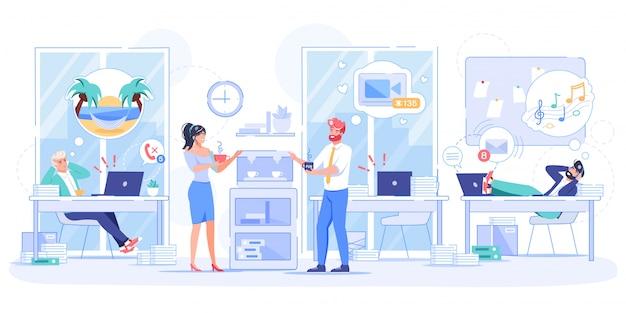 Procrastinazione dei dipendenti del lavoratore nell'ufficio della società