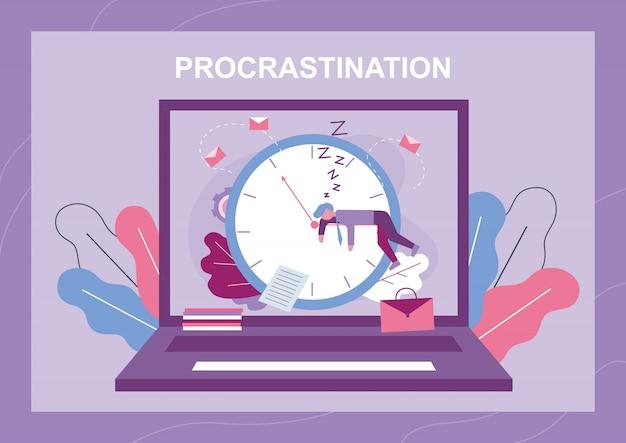 Procrastinazione e banner metafora del wast time