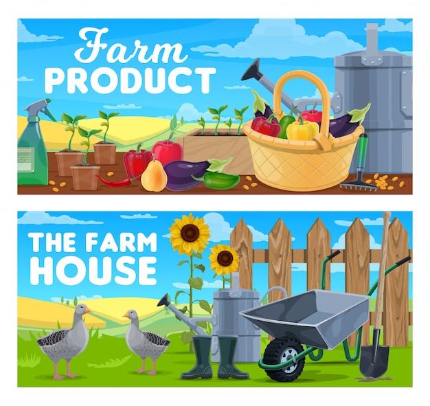 Prodotti agricoli e banner per l'agricoltura naturale