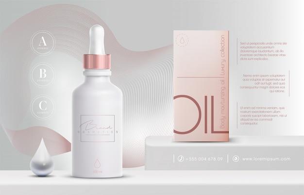 Prodotti cosmetici 3d eleganti spray ad olio per prodotti per la cura della pelle. crema viso di lusso. volantino di annunci cosmetici o banner design. modello di crema cosmetica blu. marchio di prodotti di bellezza.