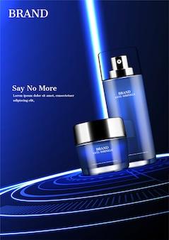 Prodotti cosmetici con montante leggero blu e anelli luminosi concentrici a terra