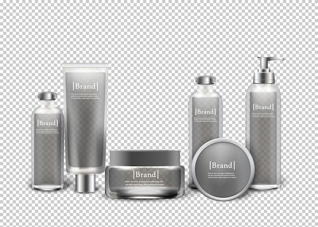 Prodotti cosmetici di lusso isolati in bottiglie.