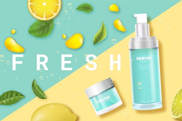 Prodotti cosmetici per la cura della pelle freschi con annuncio al limone