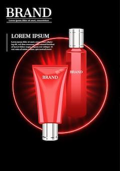 Prodotti cosmetici rossi con luce splendente