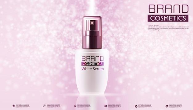 Prodotti cosmetici su colore rosa e modello di testo