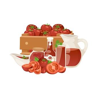 Prodotti dei pomodori con l'illustrazione del fumetto del succo, del ketchup e dei sottaceti di verdure dei prodotti biologici.