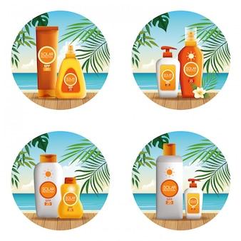 Prodotti di bottiglie di protezione solare per icona rotonda estate