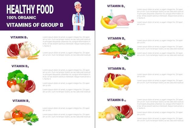 Prodotti di infographics alimentari sani con vitamine e minerali, salute concetto di stile di vita di nutrizione