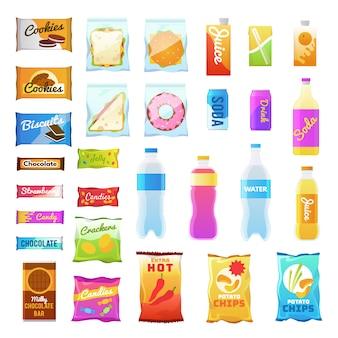 Prodotti di vendita. pacchetto di bevande e snack in plastica, confezioni di snack veloci, sandwich di biscotti. beve acqua juic