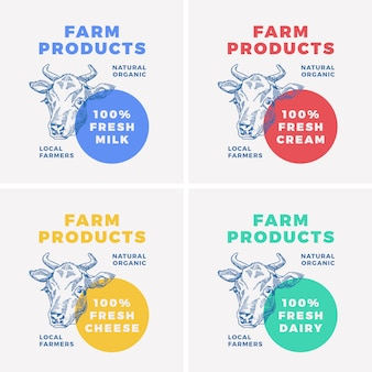 Prodotti lattiero-caseari agricoli, faccia di mucca, logo
