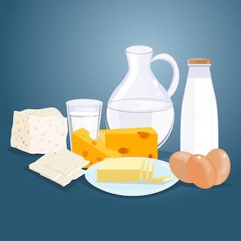 Prodotti lattiero-caseari vector piatta fumetto illustrazione