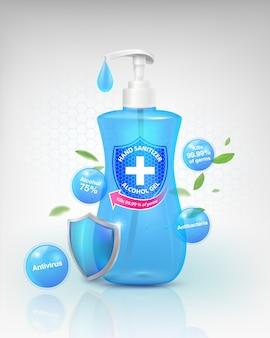 Prodotti per gel disinfettante per le mani, componente alcolico al 75%, uccide fino al 99,99% di virus covid-19, batteri e germi. confezionato in una bottiglia di plastica trasparente. file realistico.