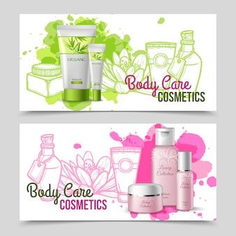 Prodotti per la cura del corpo 2 set di banner