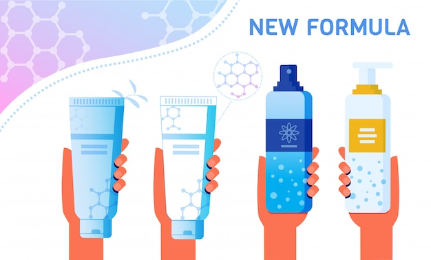 Prodotti per la cura della pelle con la nuova formula di pubblicità