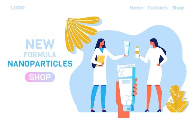 Prodotti per la cura della pelle con la pagina di destinazione delle nanoparticelle