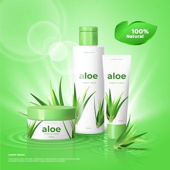 Prodotti per la cura della pelle con pubblicità di cosmetici all'aloe