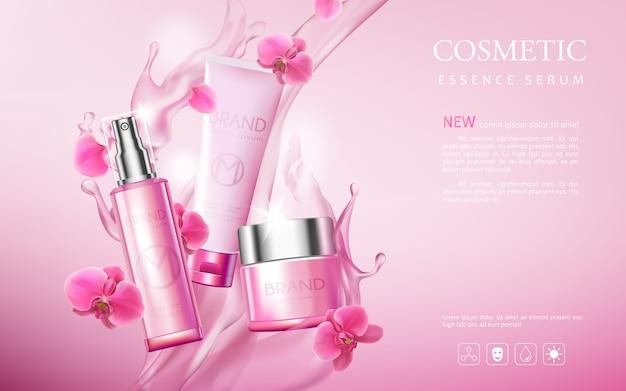 Prodotti premium di poster cosmetico, sfondo rosa con bella bottiglia e consistenza acquosa