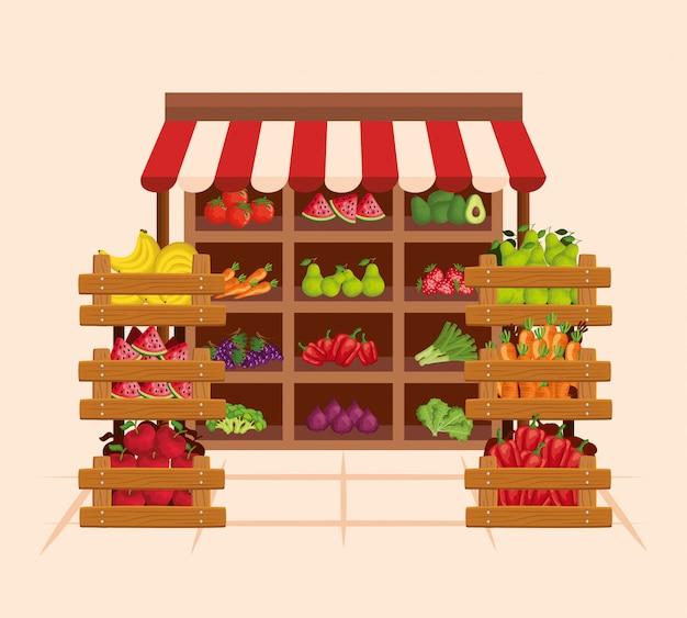 Prodotti sani di frutta e verdura fresca