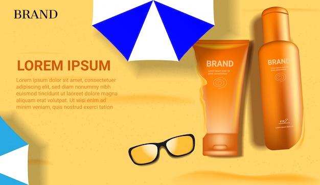 Prodotti sunblock su sabbia di mare per l'estate con occhiali da sole e ombrelloni