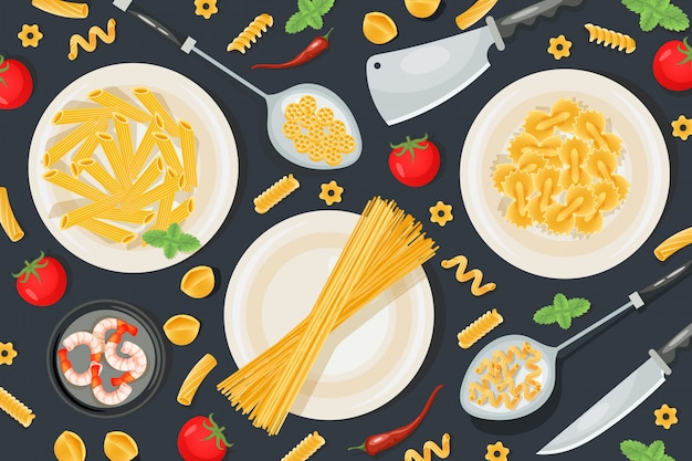 Prodotto alimentare italiano della pasta, illustrazione professionale del modello degli utensili della famiglia della preparazione dell'alimento. coltello da cucina concept.