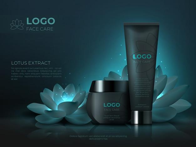 Prodotto cosmetico nero. tubo realistico di trucco 3d di lusso crema cosmetica per la cura della pelle. modello di promozione cosmetica