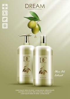 Prodotto naturale balsamo e shampoo con olio d'oliva