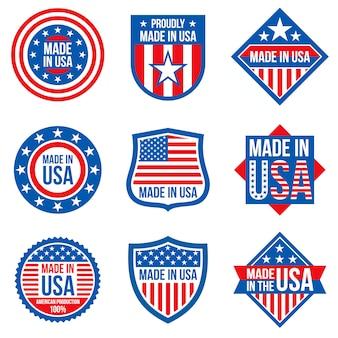 Prodotto nelle etichette degli stati uniti. adesivi di fabbricazione americana