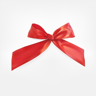 Prodotto red ribbon e bow 3d realistic