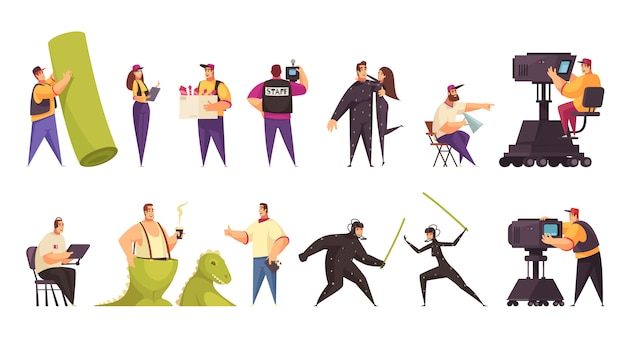 Produzione cinematografica troupe cinematografica operatore macchina da presa attori costumi attrezzatura oggetti di scena 2 set orizzontali comici