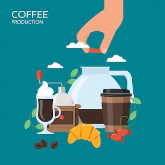 Produzione di caffè in stile piatto