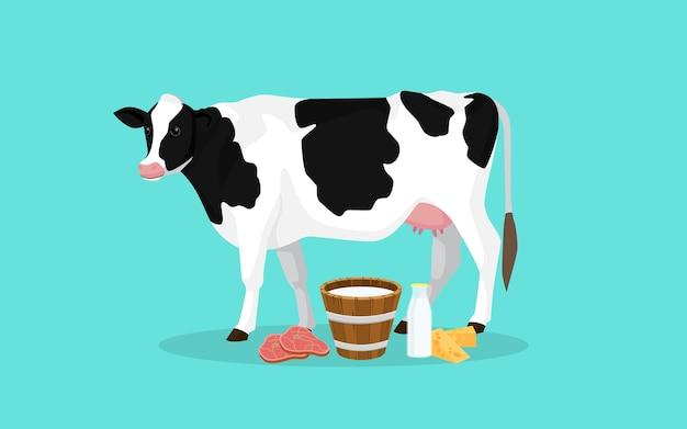 Produzione di mucche con illustrazione di latte e formaggio di carne