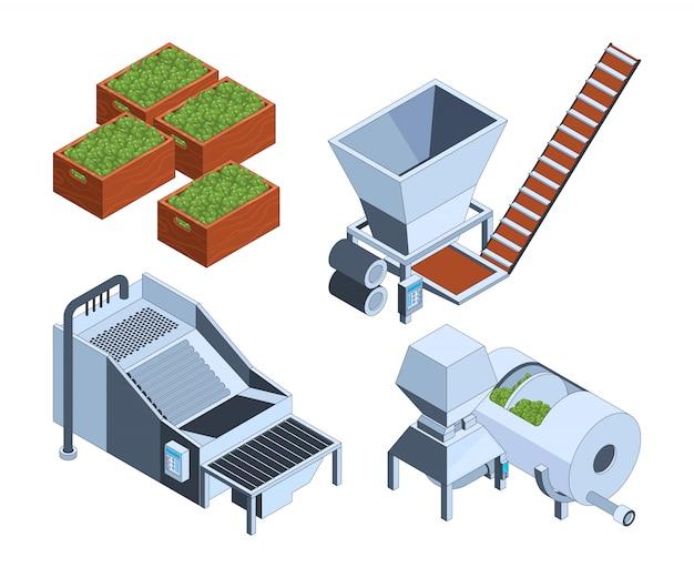 Produzione di olive. tecnologia di estrazione di impianti petroliferi serbatoi agricoli stampa frutti produzione bottiglia cibo schiacciato isometrico