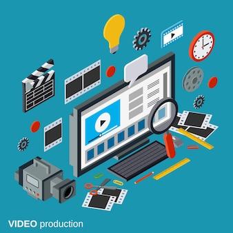 Produzione video, montaggio, riprese video illustrazione 3d isometrica concetto di editing